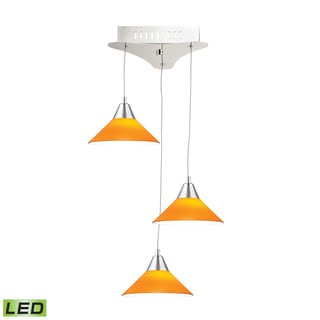 Alico Cono 3 Light LED Pendant In Chrome With Yellow Glass