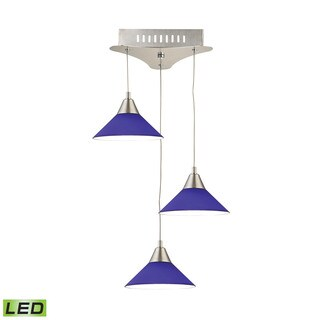 Alico Cono 3 Light LED Pendant In Satin Nickel With Blue Glass