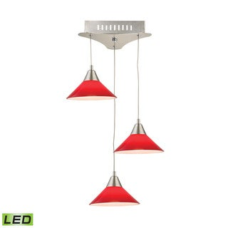 Alico Cono 3 Light LED Pendant In Satin Nickel With Red Glass