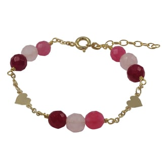 Luxiro Gold Filled Pink Semi-precious Gemstone Children's Heart Bracelet