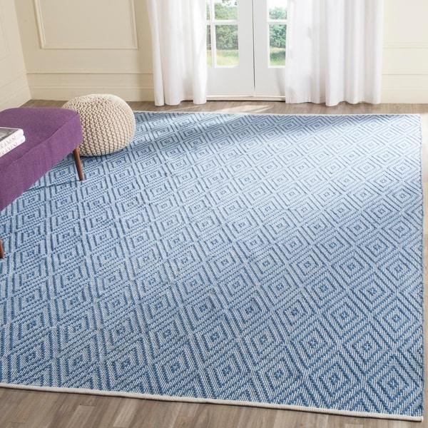 Safavieh Hand-Woven Montauk Blue/ Ivory Cotton Rug - 8' x 10'