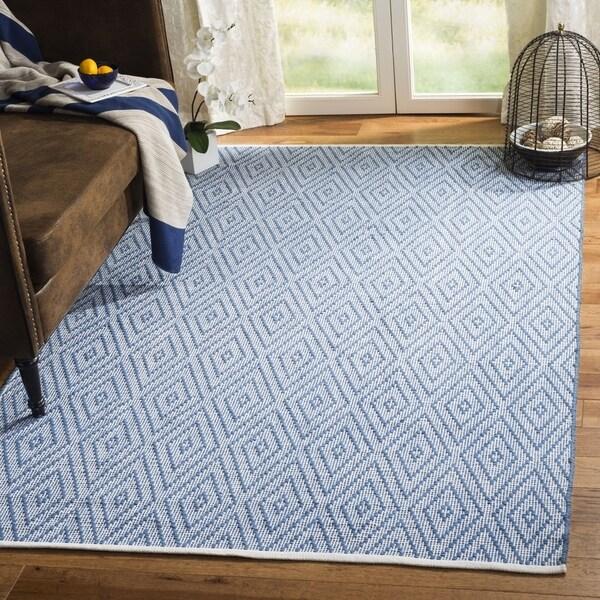 Safavieh Montauk Hand-Woven Flatweave Blue/ Ivory Diamond Cotton Rug - 8' x 10'