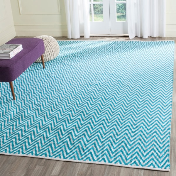 Homefires Indoor Outdoor Hooked Turquoise White Indoor: Shop Safavieh Hand-Woven Montauk Turquoise/ Ivory Cotton