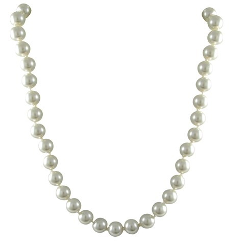 Luxiro White 8-mm Glass Pearl Strand Necklace, 54-inch or 90-inch