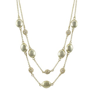 Luxiro Brushed Gold Finish Pave Cubic Zirconia Two-row Coin Necklace