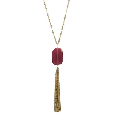 Luxiro Gold Finish Fuchsia or Grey Translucent Stone Tassel Pendant Necklace