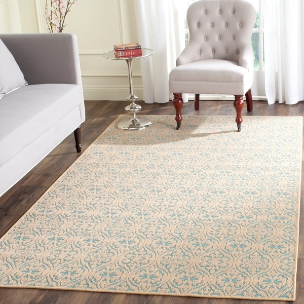 Safavieh Palm Beach Natural/ Turquoise Rug - 8' X 11'