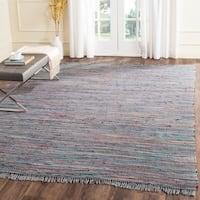 Safavieh Hand-Woven Rag Rug Aqua/ Multi Cotton Rug - 9' x 12'