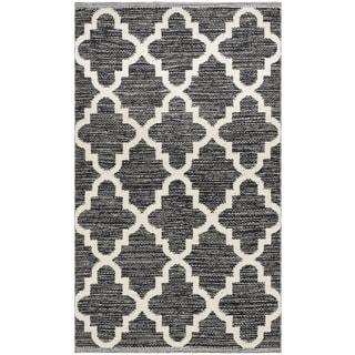 Safavieh Hand-Woven Montauk Black/ Ivory Cotton Rug (2'3 x 3'9)