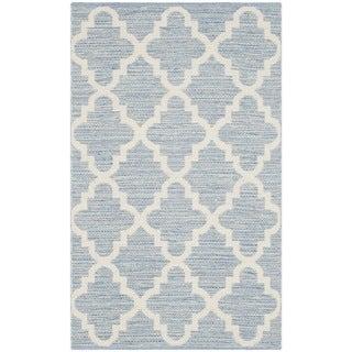Safavieh Hand-Woven Montauk Light Blue/ Ivory Cotton Rug (2'3 x 3'9)