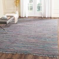 Safavieh Hand-Woven Rag Rug Aqua/ Multi Cotton Rug - 8' x 10'