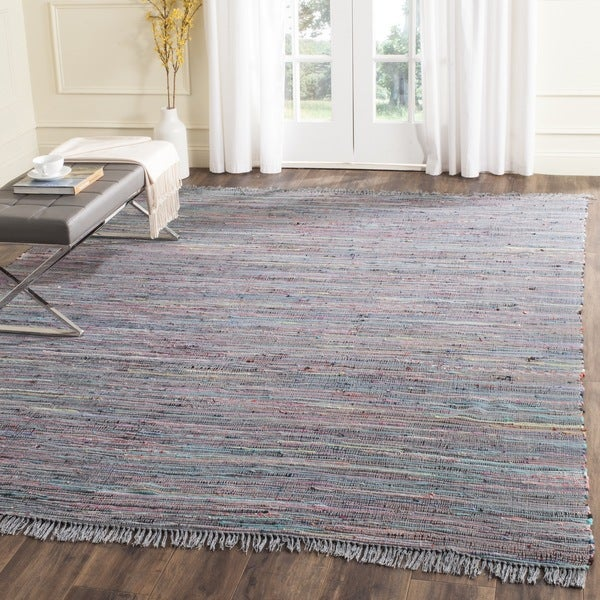Safavieh Hand-Woven Rag Rug Aqua/ Multi Cotton Rug (10' x 14')