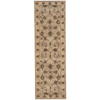 Herat Oriental Indo Hand-tufted Mahal Gray/ Beige Wool Runner (2'7 x 8')