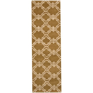 Herat Oriental Indo Hand-tufted Tibetan Olive/ Ivory Wool Runner (2'6 x 8')