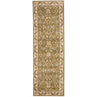 Herat Oriental Indo Hand-tufted Mahal Green/ Ivory Wool Runner (2'7 x 8')