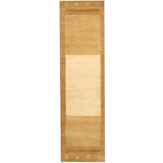 Herat Oriental Indo Hand-tufted Tibetan Ivory/ Olive Wool Runner (2'7 x 9'5)
