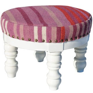 Herat Oriental Indo Handmade Cotton and Wool Upholstered Wooden Round Footstool