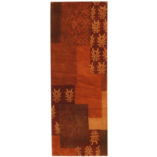 Herat Oriental Indo Hand-tufted Tibetan Rust/ Red Wool Runner (2'5 x 6'7)