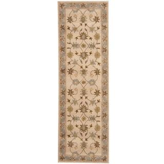 Herat Oriental Indo Hand-tufted Mahal Beige/ Gray Wool Runner (2'6 x 8')