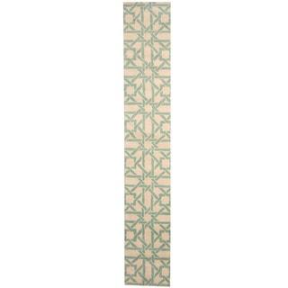 Herat Oriental Indo Hand-tufted Tibetan Ivory/ Teal Wool Runner (2'2 x 13')