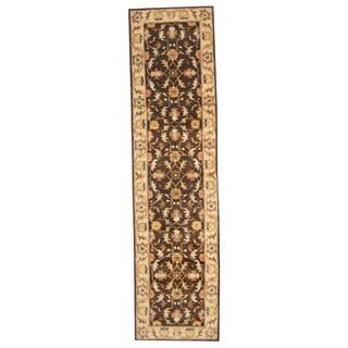 Herat Oriental Indo Hand-tufted Mahal Brown/ Beige Wool Runner (3' x 12')