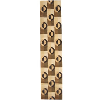 Herat Oriental Indo Hand-tufted Tibetan Beige/ Brown Wool Runner (2'7 x 12')