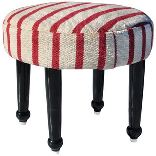 Herat Oriental Handmade Cotton-upholstered Wooden Footstool (India)