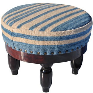 Herat Oriental Indo Cotton & Wool Upholstered Wooden Round Footstool (India)