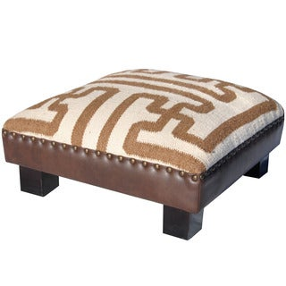 Herat Oriental Indo Handmade Wool and Cotton Upholstered Wooden Footstool (India)