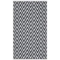 Safavieh Hand-Woven Montauk Black/ Ivory Cotton Rug - 2'3 x 3'9