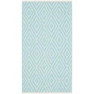 Safavieh Hand-Woven Montauk Turquoise/ Ivory Cotton Rug (2'3 x 3'9)