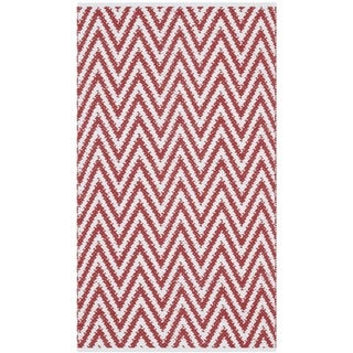 Safavieh Hand-Woven Montauk Red/ Ivory Cotton Rug - 2'3 x 3'9