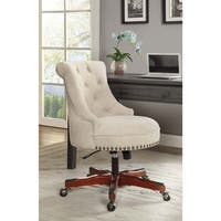 Linon Pamela White Upholstered Office Chair