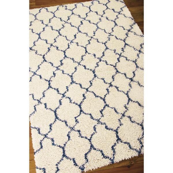 Nourison Amore Ivory/Blue Shag Area Rug (3'2 x 5')