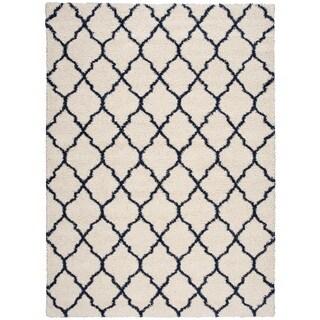 Nourison Amore Ivory/Blue Shag Area Rug (6'7 x 9'6)