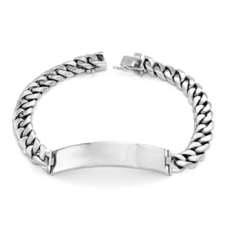 Sterling Essentials Silver 9mm Cuban Link ID Bracelet