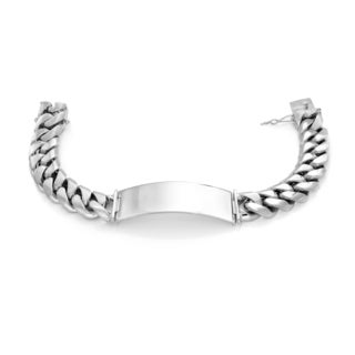 Sterling Essentials Silver 11mm Cuban Link ID Bracelet - White