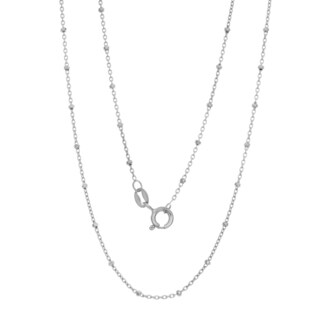 Sterling Essentials Italian Rhodium-plated Silver 1.5mm Bead Rosary Chain Necklace - White