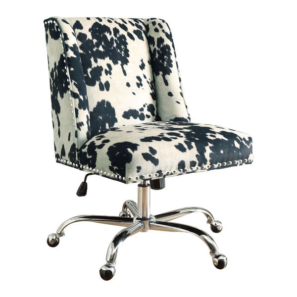 Linon Violet Office Chair   Cow Print