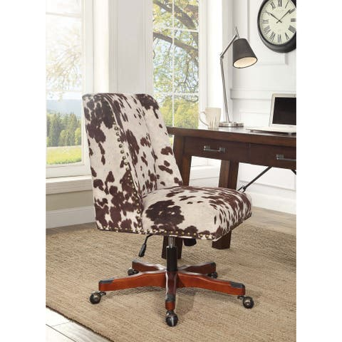Linon Violet Office Chair - Brown Print