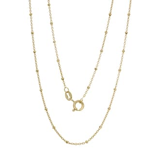Sterling Essentials Italian 14k Yellow Goldplated Silver Bead Rosary Chain Necklace