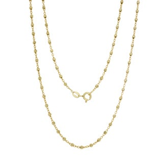 Sterling Essentials Italian Silver with 14k Gold Plate 2 mm Bead Rosary Chain (16-18 Inch )