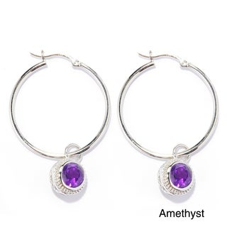 Sterling silver 8 mm Gemstones Charm Hoop Earrings