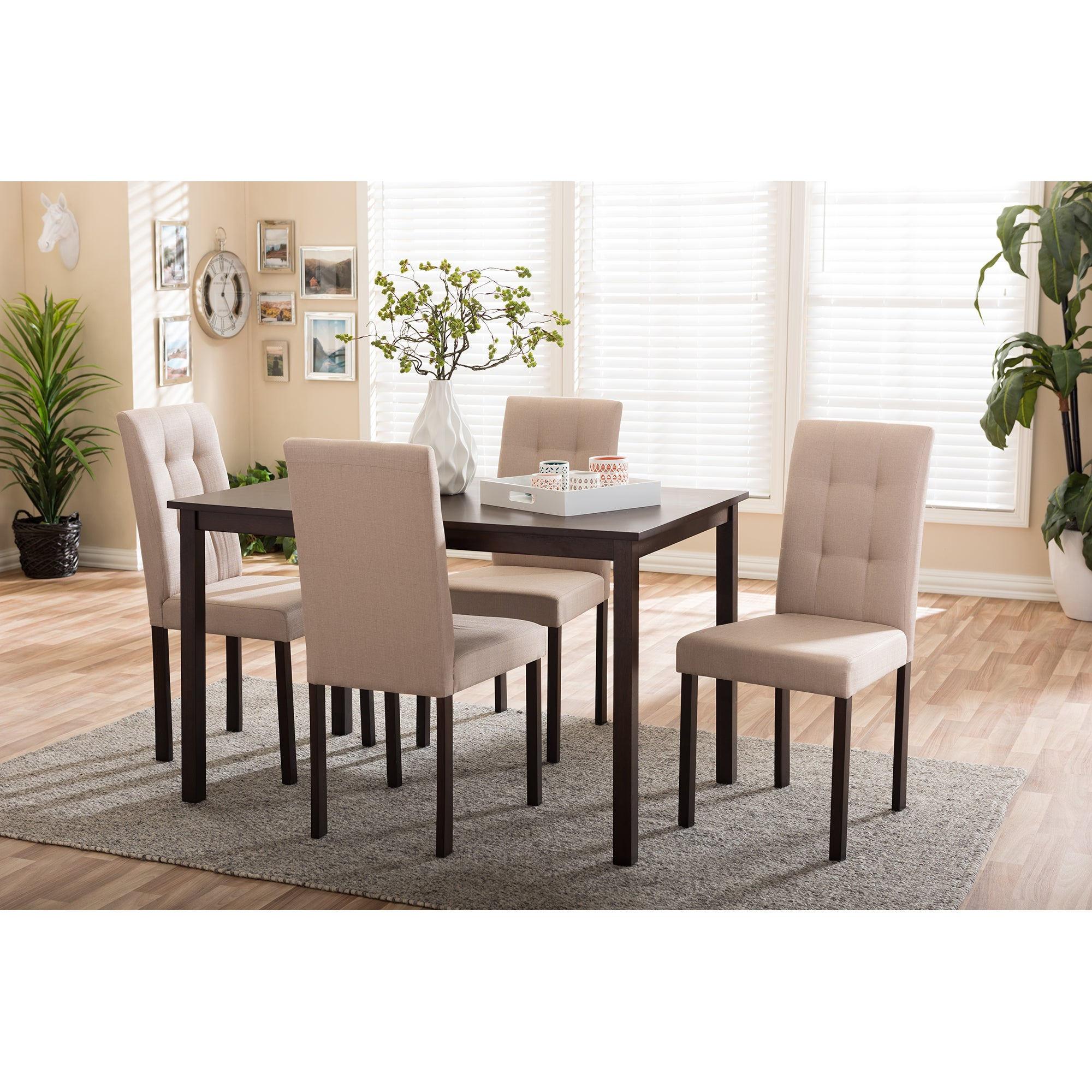 Porch U0026 Den Devin Contemporary 5 Piece Beige Fabric Upholstered  Grid Tufting Dining Set