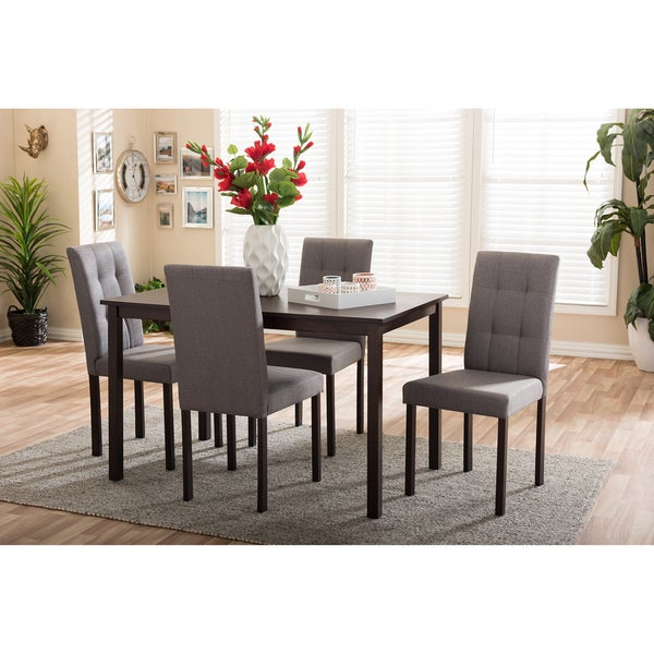 Porch Den Devin Contemporary 5 Piece Grey Fabric Upholstered Grid Tufting Dining Set