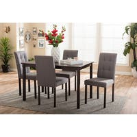 Porch & Den Devin Contemporary 5-piece Grey Fabric Upholstered Grid-tufting Dining Set