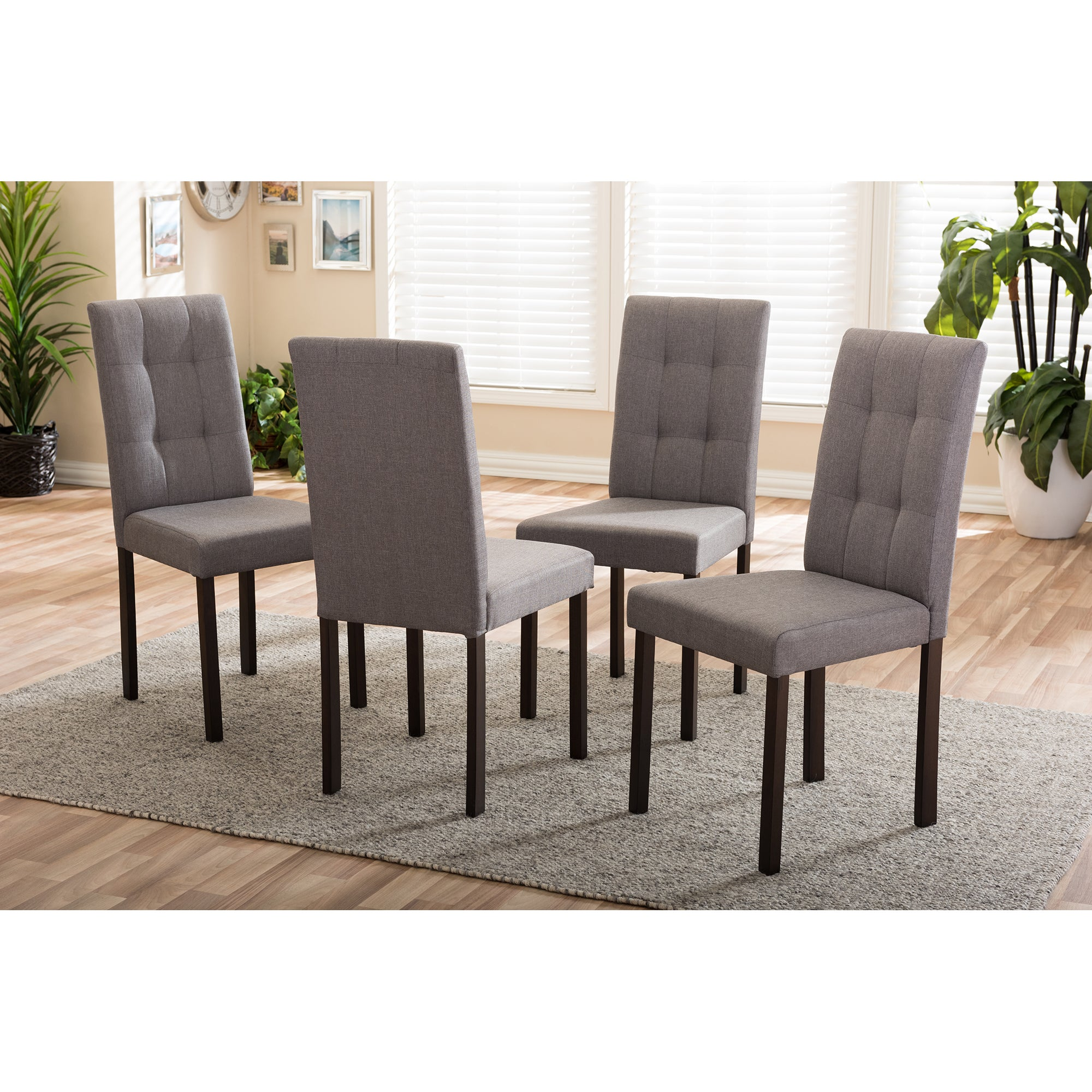 Porch Den Indiana Grey Fabric Upholstered Grid Tufted Dining Chairs Set Of 4