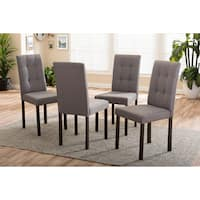 Gracewood Hollow Maleshova Grey Fabric Upholstered Grid-tufted Dining Chairs (Set of 4)