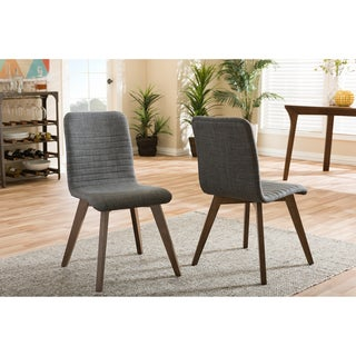 Baxton Studio Sugar Mid-century Retro Modern Scandinavian Style Dark Grey Fabric Upholstered Walnut Finish Dining Chair Set, 2