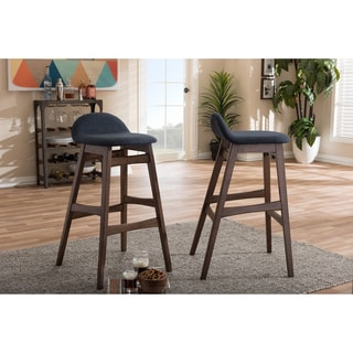 Baxton Studio Bloom Mid-century Retro Modern Scandinavian Style Dark Blue Fabric Upholstered Walnut Wood Finish Barstool Set